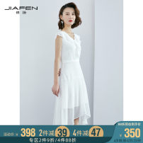 Dress Winter of 2019 white S M L Mid length dress singleton  Sleeveless commute V-neck middle-waisted Solid color Irregular skirt other 30-34 years old Jiafen Ol style 92607E More than 95% polyester fiber Polyester 100% Same model in shopping mall (sold online and offline)
