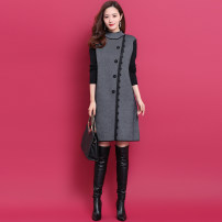 Dress Winter of 2019 Grey, silver grey S,M,L,XL,2XL Mid length dress singleton  Long sleeves commute Half high collar middle-waisted Solid color Socket A-line skirt routine Others Type A lady Bright silk, stitching, thread, lace HN01YS023 51% (inclusive) - 70% (inclusive) knitting wool