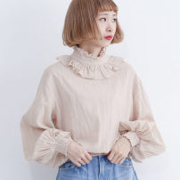 shirt Spring of 2019 cotton 96% and above Long sleeves commute Regular Half high collar Socket bishop sleeve Solid color Straight cylinder Stitching, folding