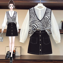 Women's large Spring 2021 Top + skirt suit Large XL, large XXL, large XXL, large XXXXL, large L trousers Three piece set commute Long sleeves Zebra pattern Korean version Medium length cotton Three dimensional cutting routine 25-29 years old Lace stitching 81% (inclusive) - 90% (inclusive)