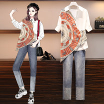 Women's large Summer 2021 Jeans, shirts, suits Large L (100-118 kg recommended), large 2XL (135-150 kg recommended), large 3XL (150-165 kg recommended), large 4XL (160-180 kg recommended), large XL (118-135 kg recommended) Two piece set commute easy moderate Cardigan Short sleeve Abstract pattern