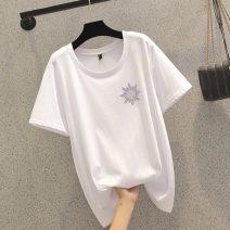 Women's large Summer 2021 white L (90-110 kg), XL (110-130 kg), 2XL (130-150 kg), 3XL (150-170 kg), 4XL (170-190 kg) T-shirt singleton  commute easy moderate Short sleeve Korean version Crew neck routine polyester JFL4F098AP655K11035 25-29 years old 51% (inclusive) - 70% (inclusive)