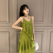 Dress Summer of 2019 Light green S,M,L,XL Mid length dress singleton  Sleeveless commute Crew neck High waist Solid color zipper Ruffle Skirt other Breast wrapping 18-24 years old Type A Korean version Ruffles, zippers More than 95% Crepe de Chine polyester fiber