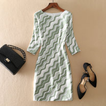 Dress Autumn of 2019 Decor 2XL,XL,L,M,S Mid length dress singleton  three quarter sleeve street Crew neck High waist other Socket other other Others Type H printing 19F1011 other other Europe and America