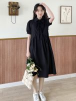 Dress Spring 2021 Black Single code Mid length dress singleton  Short sleeve Sweet Polo collar Loose waist Solid color Socket A-line skirt routine Others 18-24 years old Type A Flying bird Xiaoqing Button, bow 33788P 51% (inclusive) - 70% (inclusive) other cotton solar system