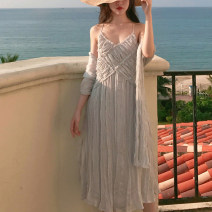 Dress Summer of 2018 Light grey S, M Middle-skirt singleton  Sleeveless commute V-neck middle-waisted Solid color Socket camisole Type A Retro