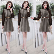 Dress Spring 2021 Black and white with belt, coffee with belt S,M,L,XL Mid length dress singleton  Long sleeves commute Crew neck lattice Socket Other / other Korean version zipper HHSJ2013