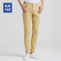 Casual pants Group Heroes Youth fashion Royal Blue Khaki 29 30 31 32 33 34 35 36 routine trousers Other leisure Self cultivation Micro bomb A12670Y064 summer youth Business Casual 2021 middle-waisted Little feet Cotton 97% polyurethane elastic fiber (spandex) 3% Overalls Pocket decoration washing