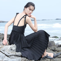 Dress Summer 2016 black S,M,L,XL low-waisted Pleated skirt SYU SYU HAN Open back, lace up, bandage CA910