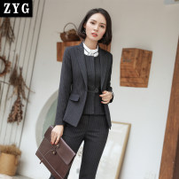 Professional pants suit Spring 2018, autumn 2018 loose coat Long sleeves 8006-1 trousers 25-35 years old 81% (inclusive) - 90% (inclusive) polyester fiber
