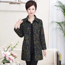 Middle aged and old women's wear Spring of 2019, autumn of 2019 XL [recommendation 100-120], 2XL [recommendation 120-130], 3XL [recommendation 130-145], 4XL [recommendation 145-160], 5XL [recommendation 160-180] ethnic style shirt easy singleton  Flower and bird pattern Cardigan moderate polyester