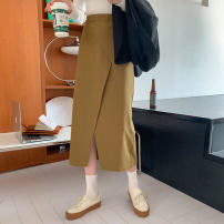 skirt Winter 2020 Average size Brown, peacock blue, black, mustard green Mid length dress commute High waist High waist skirt Solid color 18-24 years old Other / other Korean version