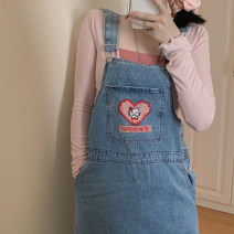 Dress Summer 2021 blue Average size Short skirt singleton  commute square neck Cartoon animation One pace skirt camisole Other / other Korean version Embroidery Denim
