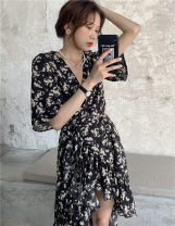 Dress Spring 2021 black Average size Mid length dress singleton  elbow sleeve commute V-neck puff sleeve 18-24 years old Type A Other / other Korean version