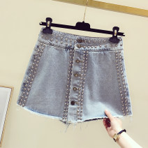 Jeans Summer 2021 blue S,M,L,XL shorts High waist Wide legged trousers routine 25-29 years old Button, other Cotton denim light colour 81% (inclusive) - 90% (inclusive)