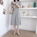 Dress Summer 2021 Gray, black Average size Crew neck routine Miss yasoo Stitching, lace 81% (inclusive) - 90% (inclusive) cotton