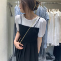 Dress Summer 2021 Blue t black skirt, white T black skirt M, L Mid length dress Fake two pieces Short sleeve commute Crew neck High waist Solid color Socket A-line skirt bishop sleeve 25-29 years old Type A Korean version Splicing 81% (inclusive) - 90% (inclusive) Chiffon other