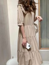 Dress Summer 2021 Khaki, white M, L Mid length dress singleton  Short sleeve commute Doll Collar High waist Decor Socket A-line skirt puff sleeve Others 25-29 years old Type A Korean version 81% (inclusive) - 90% (inclusive) other cotton