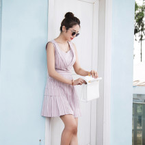 Dress Summer 2017 Pink and white stripes XS,S,L,M Short skirt Fake two pieces Sleeveless commute stripe 25-29 years old Type A ELWING Ol style cotton
