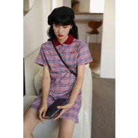 Dress Summer 2020 violet S,M,L Mid length dress singleton  Short sleeve commute Polo collar Loose waist lattice Single row two buttons A-line skirt shirt sleeve Others Type H Korean version 51% (inclusive) - 70% (inclusive) knitting cotton