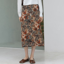 skirt Spring 2021 S,M,L Brown in oil painting, blue in ink Mid length dress Versatile High waist A-line skirt Broken flowers Type A 18-24 years old 81% (inclusive) - 90% (inclusive) polyester fiber