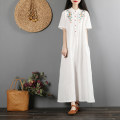Dress Summer of 2019 White, red, yellow, fuchsia Average size longuette singleton  Short sleeve commute Crew neck Loose waist Solid color Socket A-line skirt routine Others 25-29 years old Type A Retro Embroidery 51% (inclusive) - 70% (inclusive) other hemp