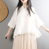 shirt white Average size Summer of 2018 other 51% (inclusive) - 70% (inclusive) three quarter sleeve commute Short style (40cm < length ≤ 50cm) stand collar Single row multi button routine Solid color 25-29 years old Straight cylinder Retro