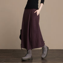 skirt Autumn of 2018 M,L,XL Mid length dress commute Natural waist A-line skirt Solid color Type A 30-34 years old 31% (inclusive) - 50% (inclusive) Elu  hemp Pleats, pockets, stitching literature 401g / m ^ 2 (inclusive) - 500g / m ^ 2 (inclusive)