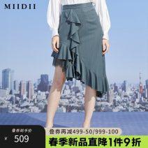 skirt Spring 2021 S M L XL XXL Dark bean green bar grey coffee bar Mid length dress Retro Natural waist Irregular Type H 25-29 years old 211MB0089 51% (inclusive) - 70% (inclusive) The answer polyester fiber Splicing