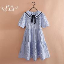 Dress blue female Jimi Garden 140cm,150cm,160cm,170cm Other 100% summer Korean version Short sleeve Solid color other Princess Dress Class B 8, 9, 10, 11, 12, 13, 14 Chinese Mainland