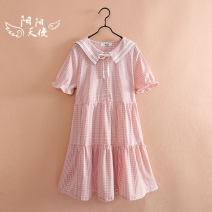 Dress Blue, pink female Jimi Garden 140cm,150cm,160cm,170cm Other 100% summer leisure time Short sleeve Solid color other other Class B 8, 9, 10, 11, 12, 13, 14 Chinese Mainland