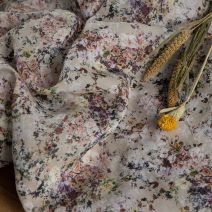 Fabric / fabric / handmade DIY fabric hemp Half rice price of Camellia Loose shear piece Plants and flowers printing and dyeing clothing Countryside