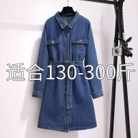 Women's large Spring 2021 blue 2XL [suggested 130-160 kg], 3XL [suggested 160-190 kg], 4XL [suggested 190-210 kg], 5XL [suggested 210-245 kg], 6xl [suggested 240-300 kg] Dress commute moderate Cardigan Long sleeves Solid color Korean version Polo collar Medium length cotton routine B60503-98 other