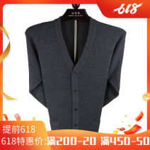 T-shirt / sweater Business gentleman Golden rabbit thickening Cardigan V-neck Long sleeve 28123 winter easy 2020 Wool 100% leisure time Business Casual middle age routine Solid color Non iron treatment Fine wool (16 and 14 stitches) Pure wool (95% or more)