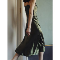 Dress Autumn 2020 Avocado Green, only accept to sign for 24 hours return and exchange, then agree XS,S,M,L longuette singleton  Sleeveless commute V-neck High waist Solid color A-line skirt camisole Simplicity