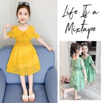 Dress Pink, ginger, light green female Other / other 110cm,120cm,130cm,140cm,150cm,160cm Cotton 95% PVC 5% summer Korean version Short sleeve Solid color Chiffon Lotus leaf edge 2021 girls' CAPE DRESS Class A 2, 3, 4, 5, 6, 7, 8, 9, 10, 11 Chinese Mainland Zhejiang Province Huzhou City