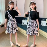 suit Other / other White, black 110cm,120cm,130cm,140cm,150cm,160cm female summer Sweet Short sleeve + skirt 2 pieces routine There are models in the real shooting Socket nothing Broken flowers cotton children Expression of love Two piece skirt set Class A Cotton 95% PVC 5% Chinese Mainland