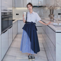 Dress Summer 2021 stripe S,M,L,XL longuette Fake two pieces Long sleeves commute Polo collar Elastic waist stripe Single breasted A-line skirt routine Others 18-24 years old Type H Other / other Korean version Splicing Q763 30% and below other polyester fiber