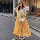 Dress Summer 2020 Ginger  S,M,L longuette singleton  Short sleeve Sweet Crew neck Loose waist Solid color Socket Big swing Lotus leaf sleeve Others 18-24 years old Type H Other / other 31% (inclusive) - 50% (inclusive) Chiffon polyester fiber Mori