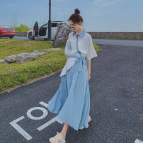 Dress Summer 2021 Color contrast S,M,L,XL Mid length dress singleton  Short sleeve commute Polo collar High waist Single breasted A-line skirt routine Others 18-24 years old Type A Lace, lace Q812 30% and below other polyester fiber