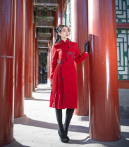 Dress Winter of 2018 gules Mid length dress singleton  Long sleeves commute stand collar High waist Decor zipper A-line skirt routine Others 25-29 years old Type A Magic Q by lou Retro 31% (inclusive) - 50% (inclusive) Wool wool