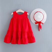 Dress Red, green female Other / other 90cm,100cm,110cm,120cm,130cm Other 100% summer Korean version cotton 2 years old, 3 years old, 4 years old, 5 years old, 6 years old, 7 years old