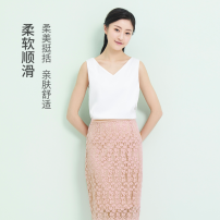 skirt Summer 2020 S,M,L,XL Versatile Natural waist Solid color 30% and below Lace nylon Lace