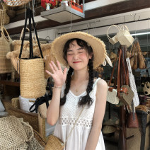Dress Summer 2021 White, cream apricot Average size Middle-skirt singleton  Sleeveless Sweet V-neck Loose waist Solid color Socket camisole 18-24 years old Type H P9380 30% and below college