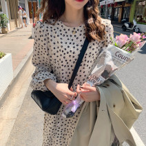 Dress Spring 2021 Apricot, black Average size Mid length dress singleton  Long sleeves Sweet Crew neck High waist zipper other other Others 18-24 years old Type A E4520 30% and below cotton Ruili