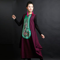 Dress Fall 2017 Purple, black M, L Mid length dress singleton  Sleeveless commute Crew neck Decor Socket routine Type H ethnic style Embroidery hemp