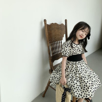 Dress Black flowers on a white background female Other / other 90, 100 (model), 110, 120, 130, 140, 150 Cotton 95% other 5% summer Korean version Short sleeve other cotton Fluffy skirt Class B Two, three, four, five, six, seven, eight, nine Chinese Mainland