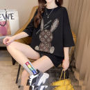 T-shirt Rose, white, black M,L,XL Summer 2021 Short sleeve Crew neck easy Medium length routine commute cotton 31% (inclusive) - 50% (inclusive) 18-24 years old Korean version originality Cartoon animation R272 odd B-19 Diamond inlay