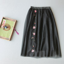 skirt Summer 2020 Average size Apricot, black, blue Mid length dress Retro High waist A-line skirt Solid color Type A 25-29 years old 045000LF 71% (inclusive) - 80% (inclusive) Other / other other Embroidery, stitching