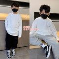 T-shirt Letter A, English letter Pudding pudding male winter Long sleeves Crew neck leisure time There are models in the real shooting nothing cotton Solid color Class B 4, 5, 6, 7, 8, 9, 10, 11, 12, 13, 14, 14 and above